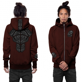 """Orbital\"" zipped hoodie, Black mottled wine"