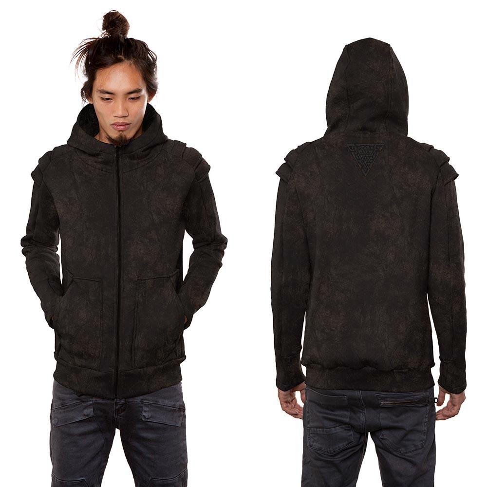"\""Orochi\"" zipped hoodie, Black rust wash"