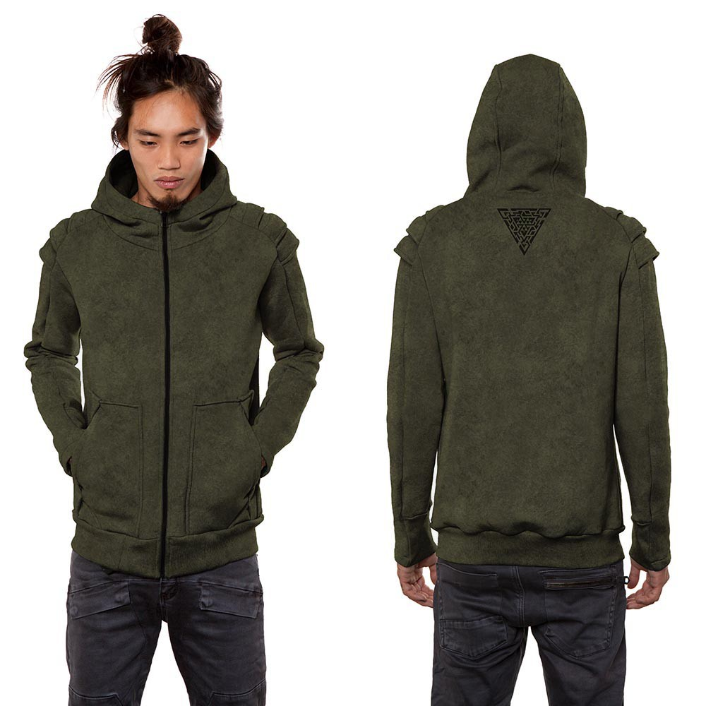 "\""Orochi\"" zipped hoodie, Khaki green wash"