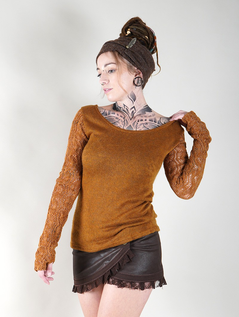 """Oroshï\"" crochet sleeve sweater, Rusty"