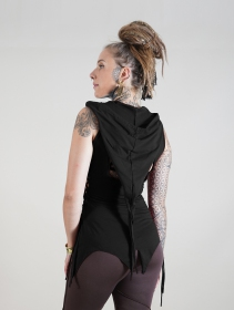 """Owen\"" sleeveless long top, Black"