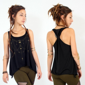 """Paalayan\"" knotted tank top, Black and gold"