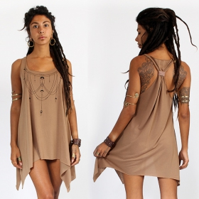 """Paalayan\"" knotted tunic, Brown and black"