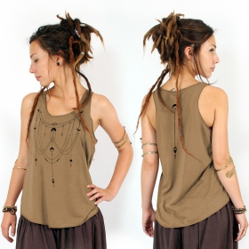 """Paalayan\"" tank top, Brown and black"