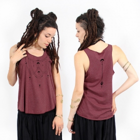 """Paalayan\"" tank top, Mottled wine and black"