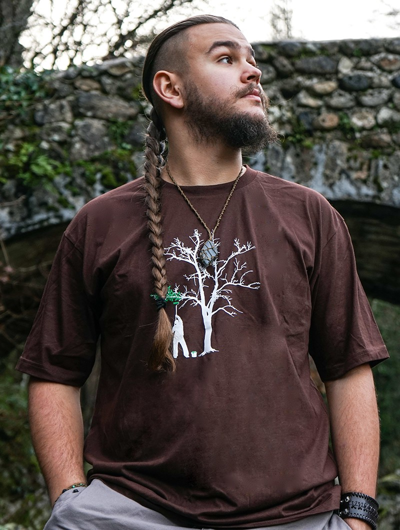 """Painting tree\"" t-shirt, Brown"