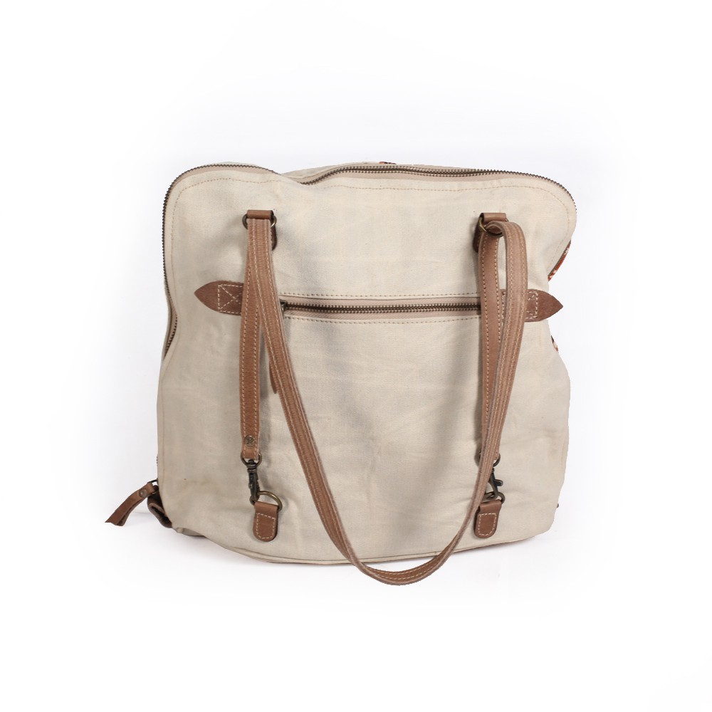 """Palila\"" Backpack and purse, Beige leather and cotton with orangish patterns"