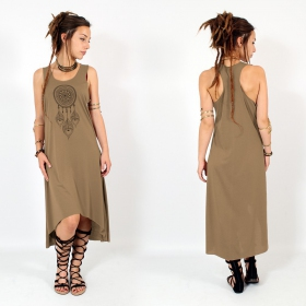 "\\\""Peacock dreamcatcher\\\"" asymmetric dress, Brown and black"