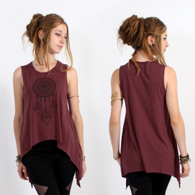 "\""Peacock dreamcatcher\\\"" asymmetric top, Mottled wine and black"