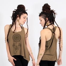 "\""Peacock dreamcatcher\\\"" knotted tank top, Black and gold"