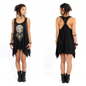 "\""Peacock dreamcatcher\\\"" knotted tunic, Black and gold"
