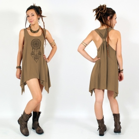 "\""Peacock dreamcatcher\\\"" knotted tunic, Brown and black"
