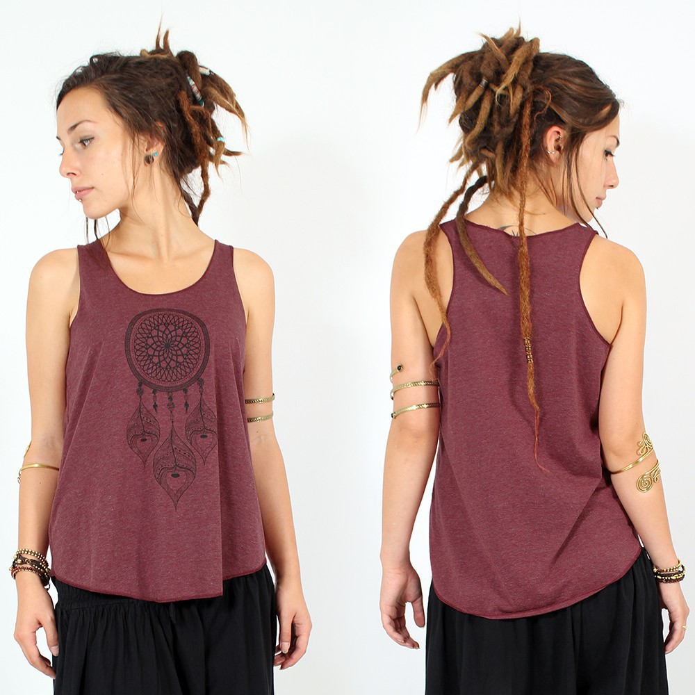 """Peacock dreamcatcher\"" tank top, Brown and black"