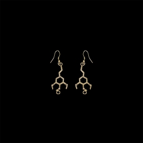 "\""Peyote\\\"" brass earrings, Mescaline molecule"