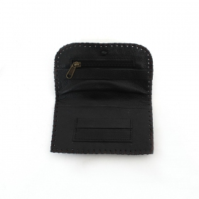Plain leather tobacco pouch with a strap and seams