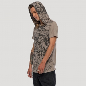 """Playa\"" hooded t-shirt, Steel beige"
