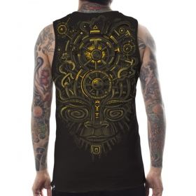 "PlazmaLab \\\""Nightvision Tank\\\"" sleeveless T-shirt, Dark brown"