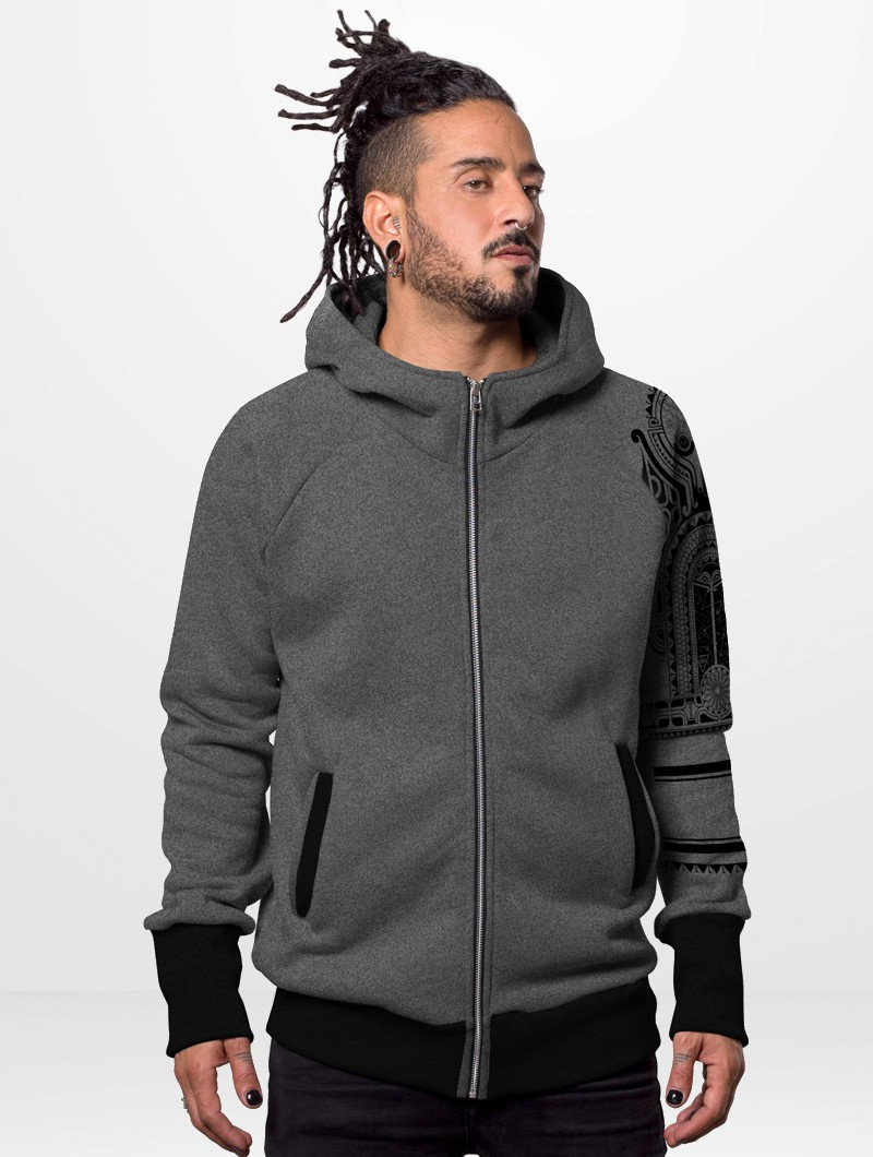 "PlazmaLab zipped hoodie ""Mauri\"", Light grey"