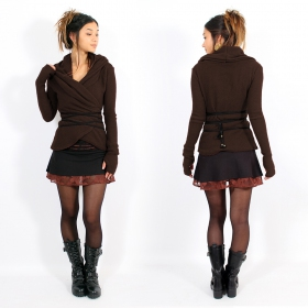 """Plume\"" wrap front Pullover, Brown"