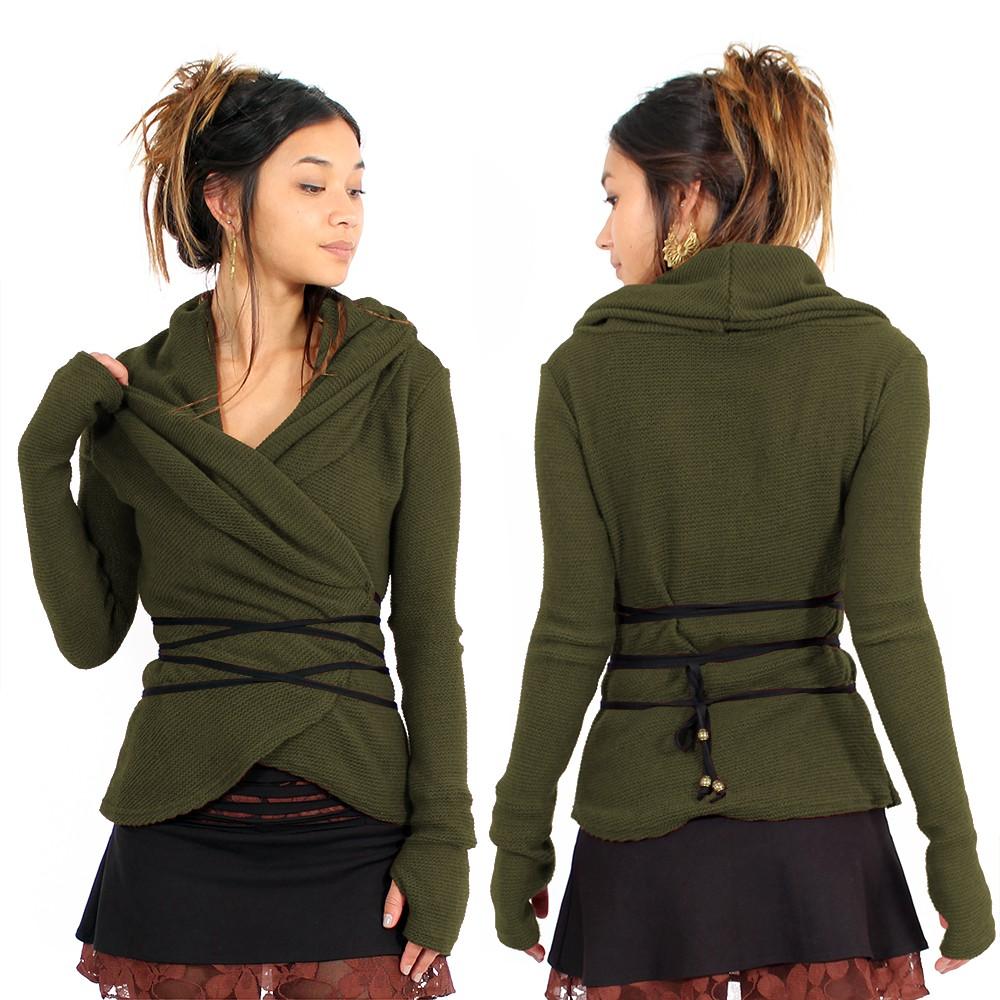 "\""Plume\"" wrap front Pullover, Khaki"