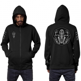 "\""Pochta\"" zipped patch hoodie, Black"