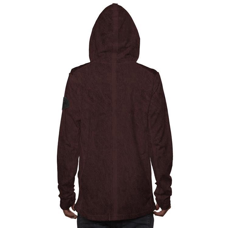 "\""Polygota\"" zipped hoodie, Bordeaux wash"
