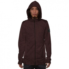 """Polygota\"" zipped hoodie, Bordeaux wash"