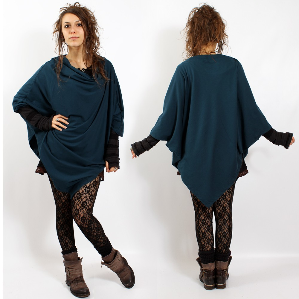 "Poncho\""amit\\\"", teal blue one size"