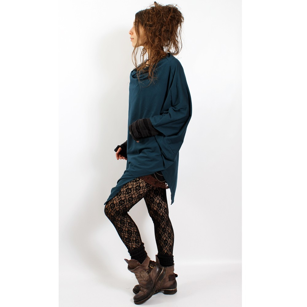 """Poncho\\\""""amit\\\"""", teal blue one size"""