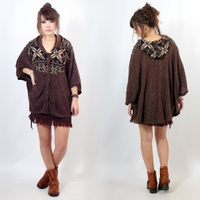 "Poncho Witch ""Kamboja\"", Brown pattern one size"