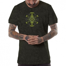"""Psychotoad\"" t-shirt, Acid wash olive"