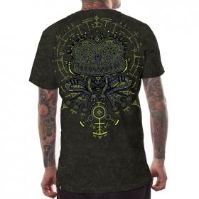 "\""Psychotoad\"" t-shirt, Acid wash olive"