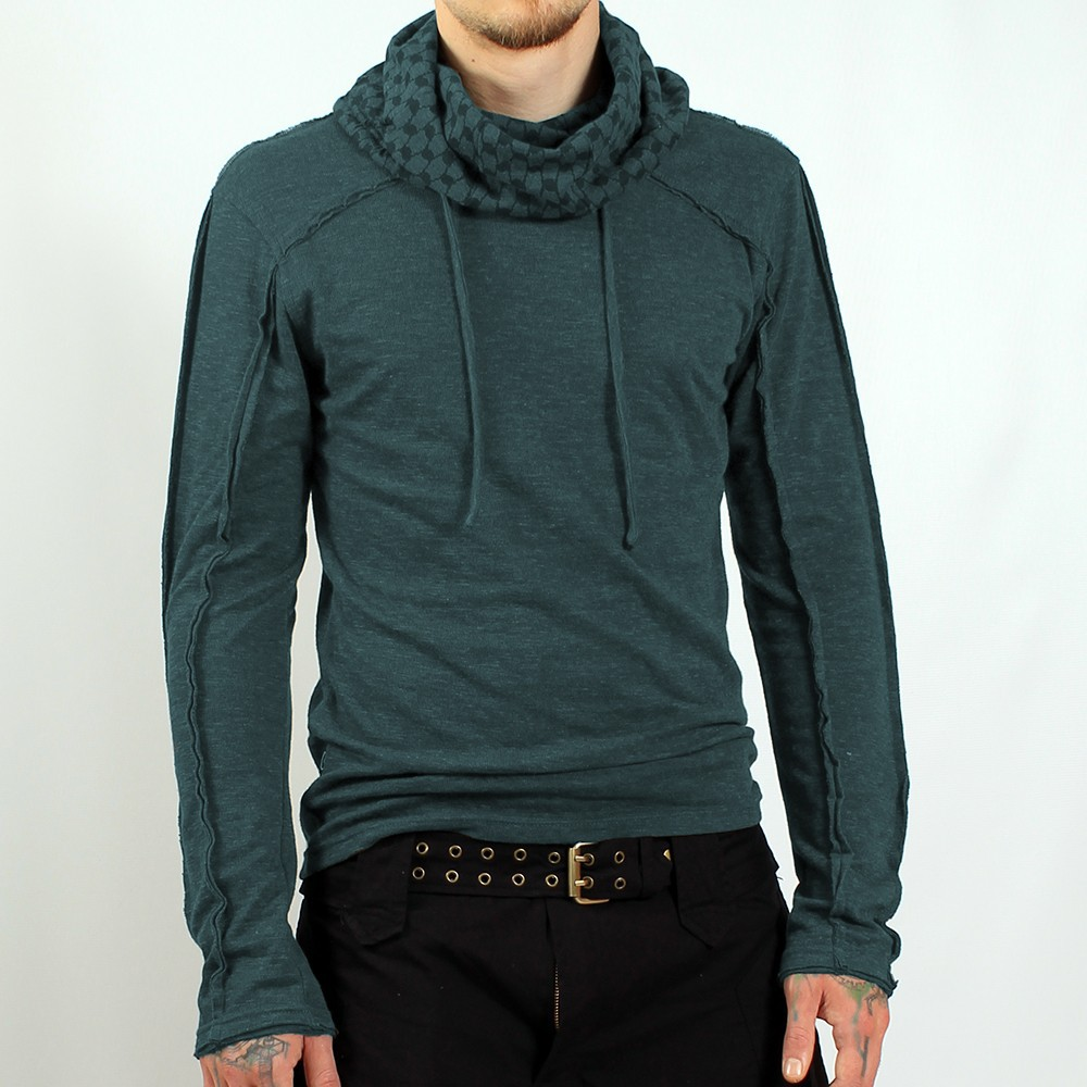 "Psylo \""kafiya\\\"" hooded jumper, teal blue"