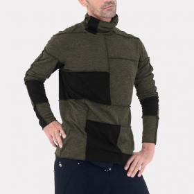 "Psylo \""patchwork jumper\"" sweater, Khaki and Black"