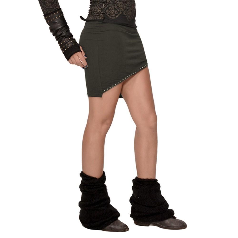 "Psylo \""Zip\"" mini skirt, Dark khaki"