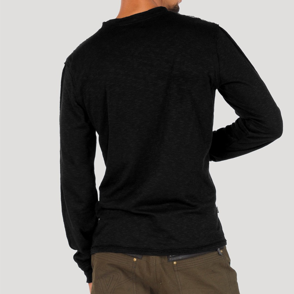 """Psylo Sweater \""""Slub Tee\"""", Black"""