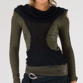 "Psylo Top ""Long Neck\"", Charcoal black"