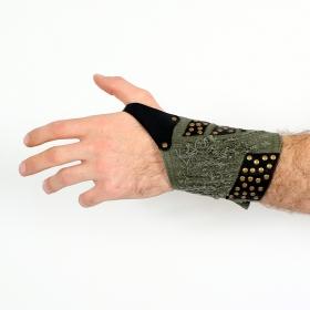 "Psylo Wrist band in leather \""5\"", Kaki"