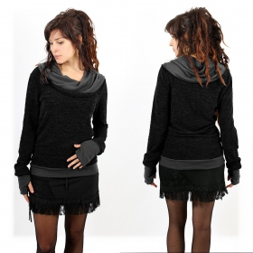 "Pullover Witch ""Janjira\"", Black Darkgrey"