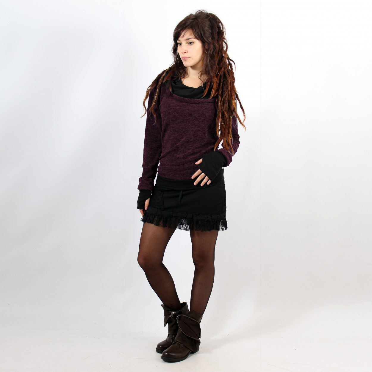 "Pullover Witch ""Janjira\"", Purple black"