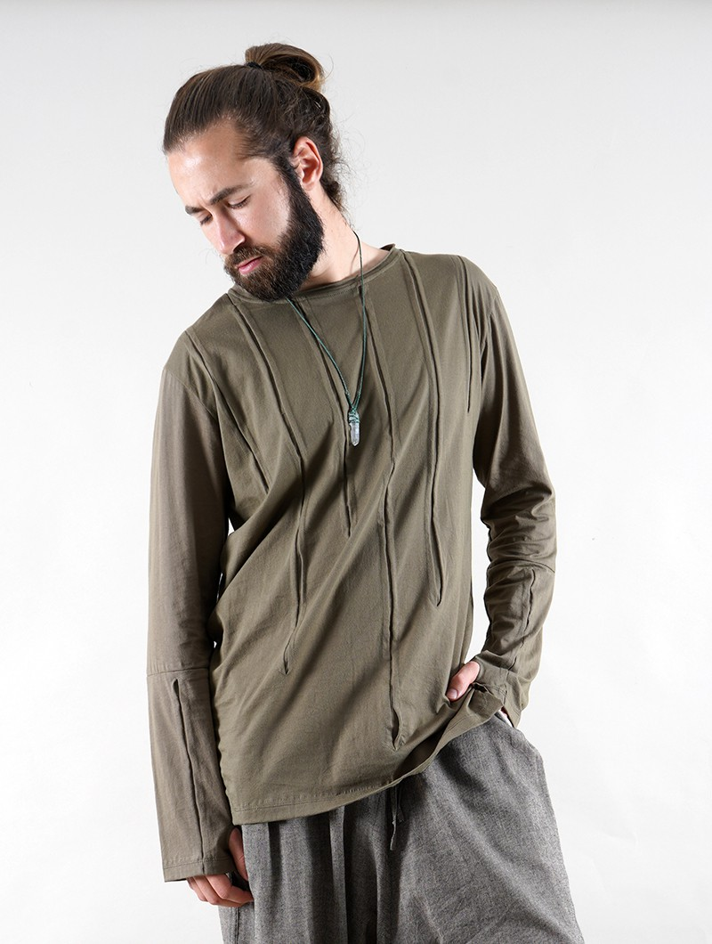 """Ra\"" long sleeve t-shirt, Khaki green"