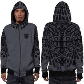 """Rabbit\"" zipped hoodie, Mottled grey"