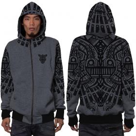 "\""Rabbit\"" zipped hoodie, Mottled grey"