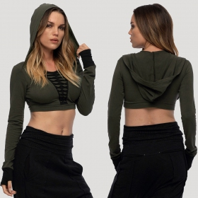 """Raffia\"" crop top, Khaki green"