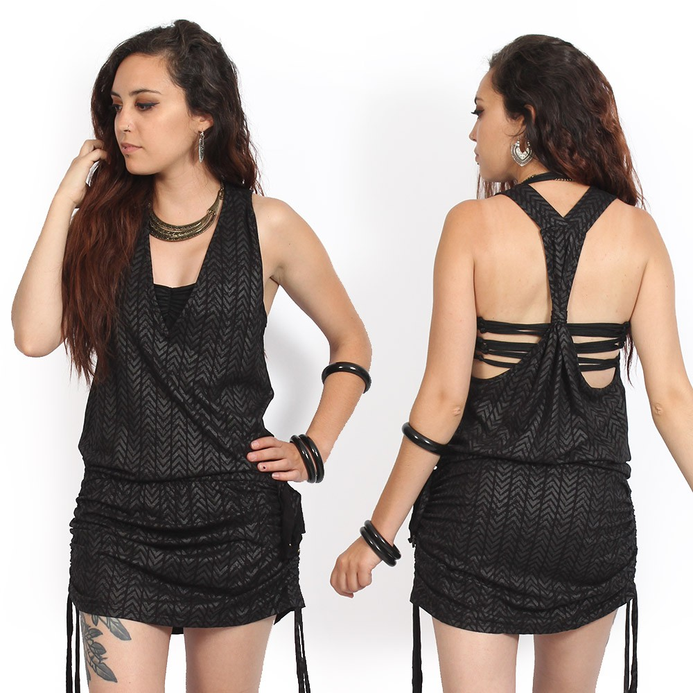 "\""Raw Chevron\"" dress, Printed black"