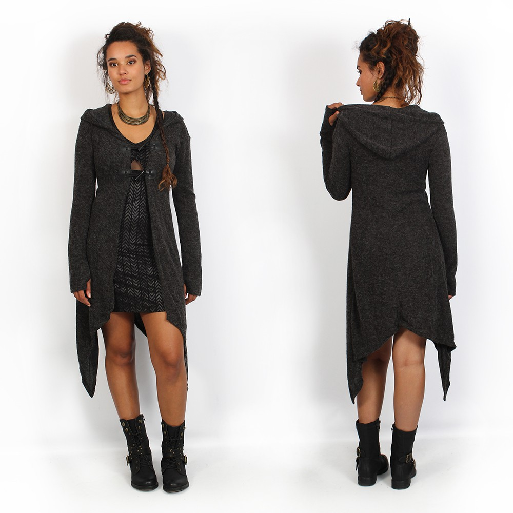 """Rebirth\"" dress, Black with chevron print"