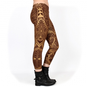 "\""Rinji Africa\"" ¾ leggings, Brown with golden prints"