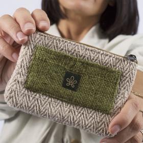 "\""Rolpa\"" change purse, anise hemp and cotton"