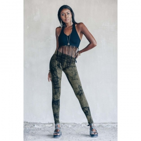 """Roots\"" long leggings, Printed olive green"