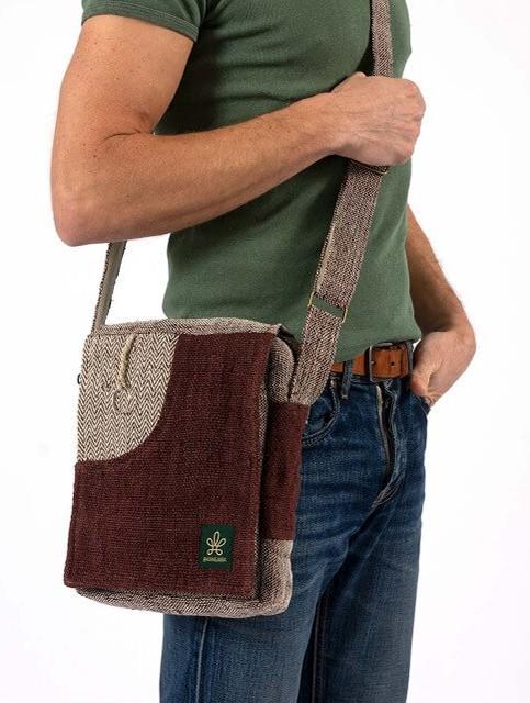 "\""Rukum\"" shoulder bag, Sand hemp and cotton"